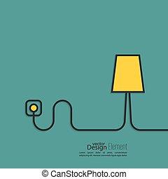 地板燈, 電線, 連線, 力量, outlet.