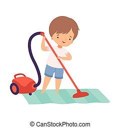 地板, 打扫, 漂亮, 男孩, 日常事务, 活动, 卡通漫画, 清洁工, 描述, 孩子, vaccuum, 学龄前, 每日, 矢量