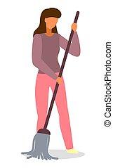 地板, 日常事务, 活动, 扫荡, 人们, 妇女, 年轻, 每日, 描述, 家庭主妇, 打扫