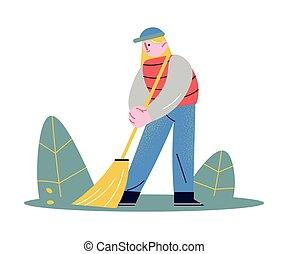 地板, 清扫, , 年长的妇女, 人 , 帮助, 年轻, 清洁