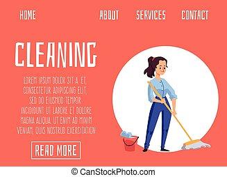 地板, 网站, 扫荡, 旗帜, 清扫妇女, 卡通漫画, 服务