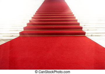 地毯, 光, 照明, 樓梯, 紅色
