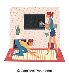 地毯, 生活, 妇女, 房间, 家庭, 妻子, 电视, 年轻, 描述, 屏幕, 擦去, 矢量, 打扫, 一起, 尘土, 家, 周末, 丈夫, 人