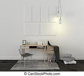 地毯,  decors, 椅子, 書桌, 斯堪的納維亞人