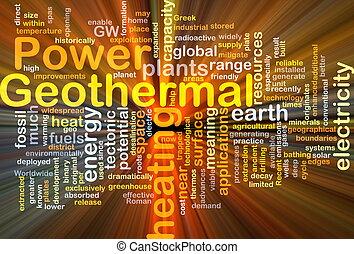 地熱, 概念, 力, 背景, 白熱