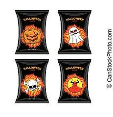 地獄, halloween., カボチャ, スナック, 漫画, flavor., ghosts., 別, チップ, 味...