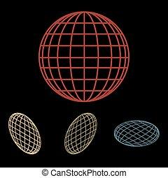 地球の 地球, セット, アイコン