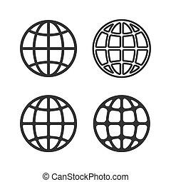 地球の 地球, ベクトル, 紋章, set.