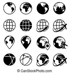 地球の 地球, ベクトル, 黒, アイコン