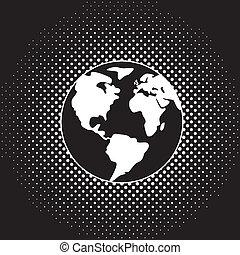 地球の 地球, ベクトル, 黒, 白