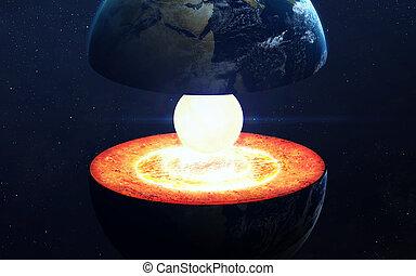 地球コア, structure., 要素, の, これ, イメージ, 供給される, によって, nasa