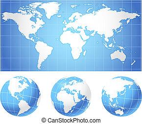 地球儀, 世界地図