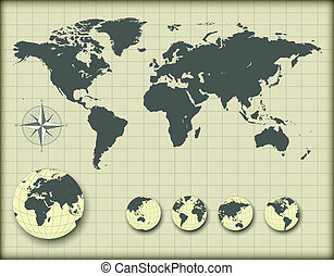 地球儀, 世界地図, 地球