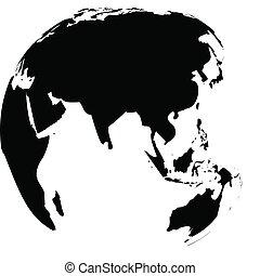 地球儀, 地球, 白, ベクトル, 黒