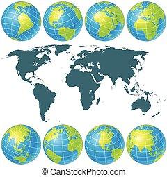 地球儀, collection., イメージ, ベクトル, 回転