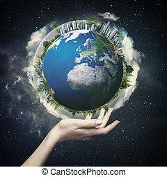 地球全球, 对, 布满星星, 背景, 环境, 概念