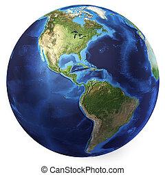 地球全球, 現實, 3, d, rendering., 美洲, 北方, 以及, 南方, 觀點。, 在懷特上, 背景。