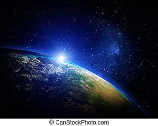 地球, から, スペース