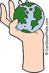 地球, そっくりそのまま, 漫画, 手を持つ