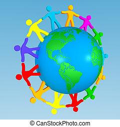 地球, のまわり, 人々