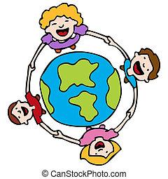地球, のまわり, 手を持つ