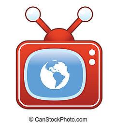 地球, アイコン, テレビ, レトロ