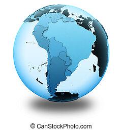地球, アメリカ, 南, 半透明