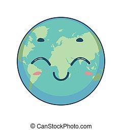 地球, イラスト, 漫画, かわいい