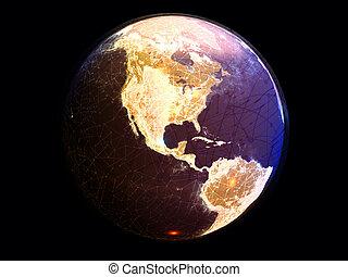 地球, インターネット, 提示, 接続, オンラインで