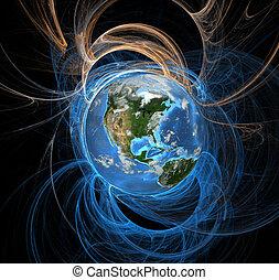 地球, エネルギー, フィールド, 西