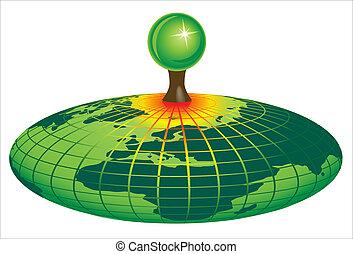 地球, シンボル, エコロジー, 緑