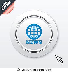 地球, シンボル。, 印, ニュース, 世界, icon.