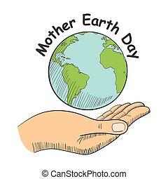 地球, シンボル, 手を持つ