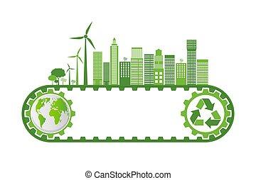 地球, シンボル, 葉, eco 友好的, 概念, 都市, エコロジー, 環境, 緑, のまわり, 世界, 考え, 助け