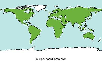 地球, スタイル, 漫画, 地図