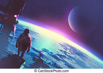 地球, スペース男, 表面, 見る