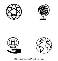 地球, セット, アイコン