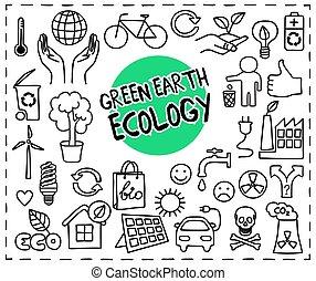 地球, セット, エコロジー, 緑, いたずら書き