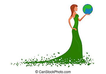 地球, ファッション, 女性