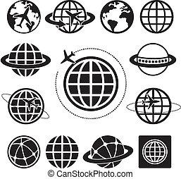 地球, ベクトル, セット, アイコン