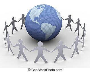 地球, ペーパー, のまわり, 人々