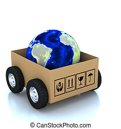 地球, ボール箱, 3d