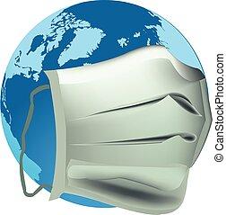 地球, マスク, antivirus, 惑星