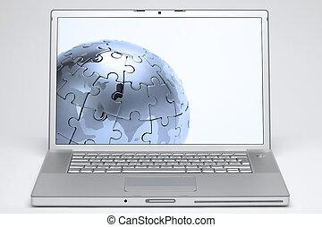 地球, ラップトップ, 白いスクリーン, 背景
