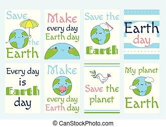 地球, ラベル, セット, 日
