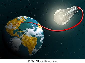 地球, ランプ, 接続される, 電気である, 照ること