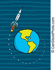 地球, ロケット, 去ること