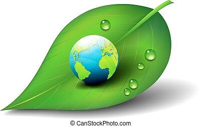 地球, 上に, 葉, アイコン, シンボル