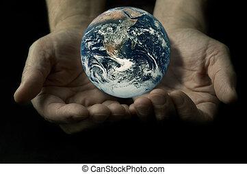 地球, 上, the, 手