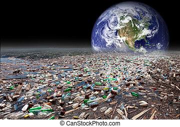 地球, 下沉, 在, 污染